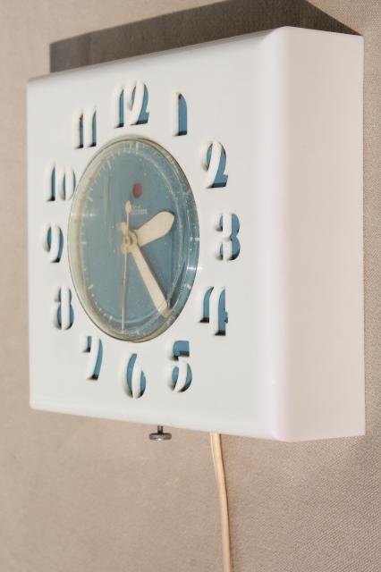 Mcm Vintage Telechron Electric Kitchen Wall Clock Deco