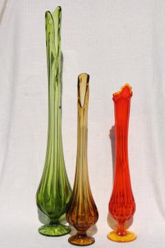 MCM vintage art glass vases, tall mod vase collection in amber, orange, green glass