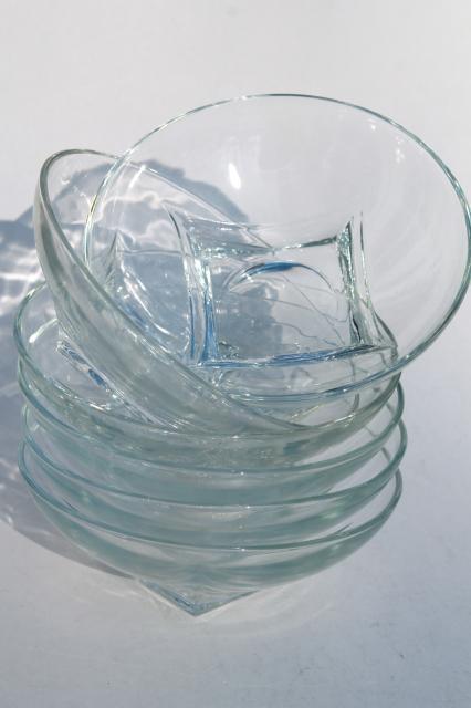 Mcm Vintage Crystal Clear Glass Salad Bowls Set Hazel