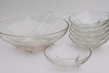 MCM vintage crystal clear glass salad bowls set, Hazel Atlas Colony square