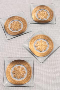 MCM vintage glassware, decorated gold medallion set square plates ashtrays, bent formed glass