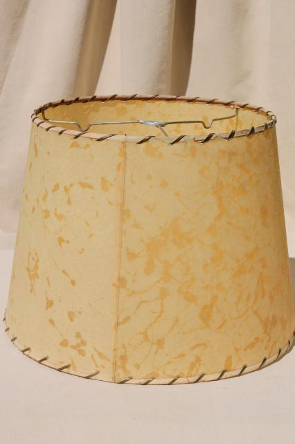 MCM vintage laced parchment lamp shade, 50s mid-century mod retro lampshade