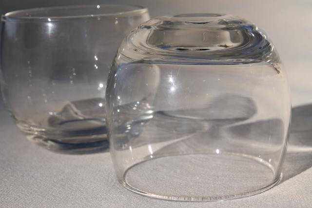 MCM vintage set roly poly glasses punch cups w/ glass ladle & huge round fishbowl punch bowl