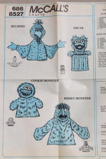 McCalls Crafts Sewing Pattern Sesame Street Puppets Big Bird Oscar Impressive Mccalls Craft Patterns