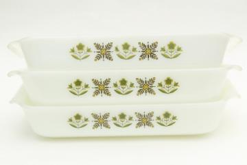 Meadow green Fire-King milk glass baking pans, 60s vintage Anchor Hocking