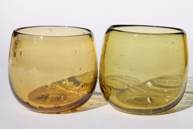 Mexican hand blown amber glass roly poly drinking glasses, retro short fat round tumblers