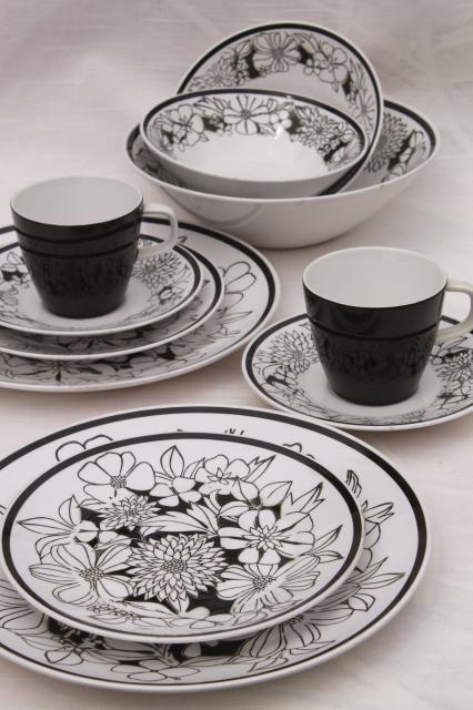 Mikasa Bouquet mod vintage black u0026 white floral china Cera-Stone pottery dinnerware set & Mikasa Bouquet mod vintage black u0026 white floral china Cera-Stone ...