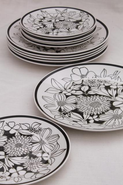 Mikasa Bouquet mod vintage black u0026 white floral china Cera-Stone pottery plates : black and white dinnerware - Pezcame.Com