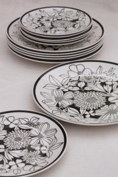 Mikasa Bouquet mod vintage black & white floral china, Cera-Stone pottery plates