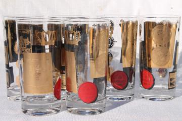 Monaco gold & black highball glasses, 70s mod vintage barware, set of 6 tall tumblers