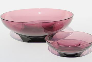Moroccan amethyst glass chip & dip bowls set, mid-century mod vintage Hazel Atlas