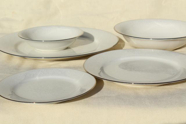 Noritake Affection white chintz floral china, vintage porcelain dinnerware set for 8