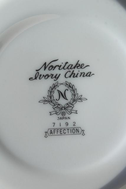 Noritake Affection white chintz floral china, vintage porcelain tea cups & saucers