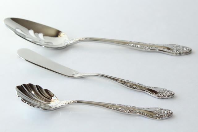 Oneida Secretariat stainless steel flatware, pierced & shell sugar spoon, butter knife