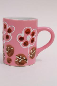 Otagiri vintage Japan hand crafted stoneware coffee mug, mod flowers on pink