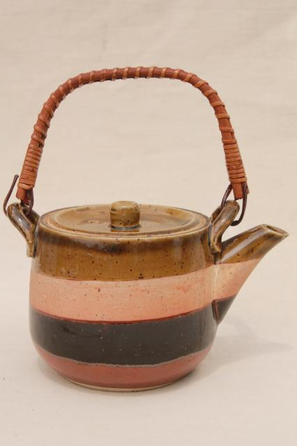 Otagiri vintage Japan pottery tea pot in natural colors, rustic earthy hippie retro