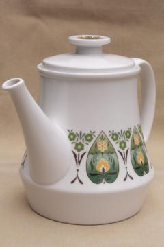 Palos Verde Noritake Progression china coffee or tea pot, retro 70s vintage