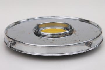 Park Sherman art deco vintage chrome lazy susan tray for pump dispenser decanter & glasses