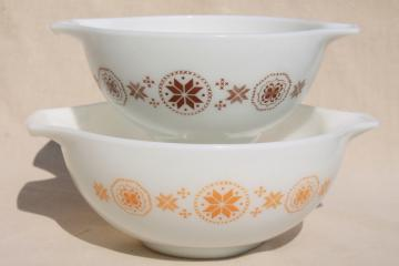 Pyrex Town & Country 442 & 443 cinderella bowls, brown & gold on milk white glass
