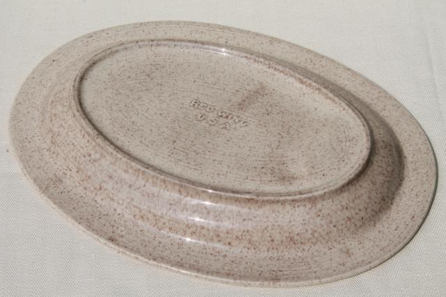 Red Wing pottery platter w/ drippings well, plain tan speckle Bob White go-along