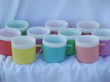 Retro Therm-o-ware insulated plastic glasses in great summer time   colors!