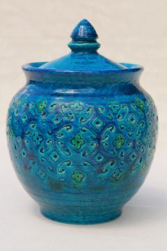 Rimini blue Bitossi ceramic jar canister w/ lid, mid-century mod Italian pottery