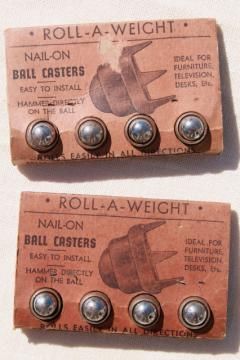 Roll-A-Weight new old stock ball casters mid century industrial vintage hardware
