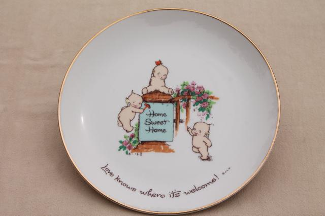 Rose O'Neill Kewpies collector's plate, Home Sweet Home wall hanging w/ kewpie babies<