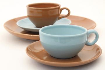 Russel Wright Iroquois blue & brown coffee dishes, casual American mid-century modern