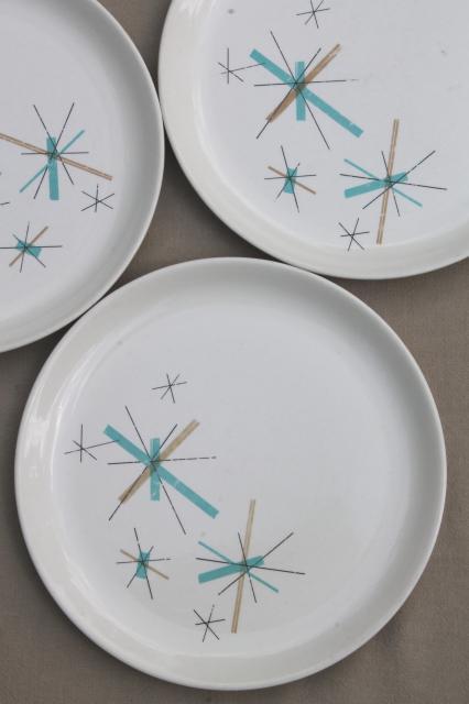 Salem North Star mid-century mod vintage atomic starburst luncheon plates & North Star mid-century mod vintage atomic starburst luncheon plates
