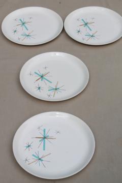 Salem North Star mid-century mod vintage atomic starburst luncheon plates
