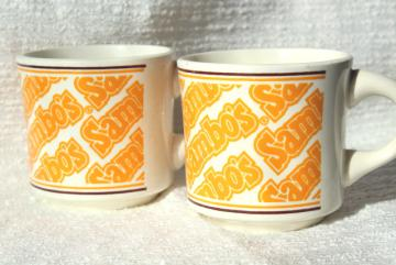 Sambo's restaurant china coffee mugs, vintage advertising Sambos cups