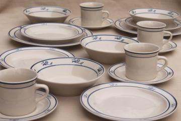 Scandia blue Brick Oven Stoneware, vintage pottery dinner plates, bowls, cups & saucers
