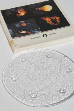 Scandinavian modern vintage Swedish art glass free form glass tray plate w/ ice texture