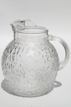 Scandinavian modern vintage ice crystal textured glass pitcher, mod kitchen glassware
