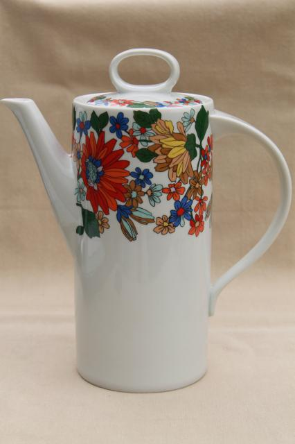 Schmidt porcelain coffee pot w/ mod vintage tropical flowers, S Catarina Brazil
