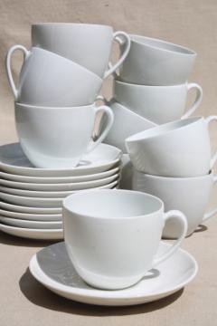 Schonwald Germany alpine white porcelain demitasse espresso cups & saucers mod vintage coupe shape