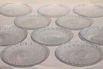 Seabreeze clear glass plates, vintage Arcoroc - France salad plate set of 10