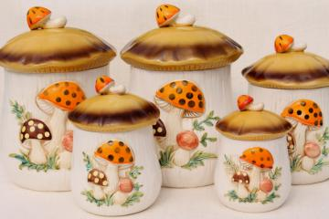 Sears Merry Mushroom ceramic canisters complete set, retro 70s vintage mushrooms