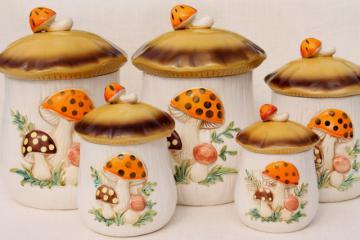 Sears Merry Mushroom ceramic canisters complete set, retro 70s vintage mushrooms