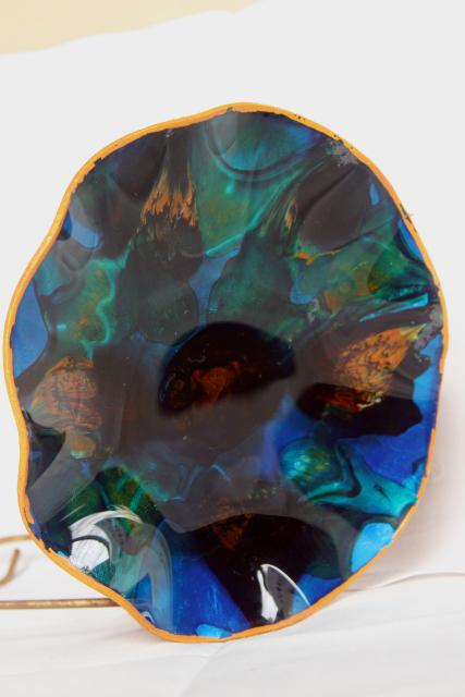 Seetusee Canada handcraft leather backed marbled glass dish, mod vintage art glass bowl