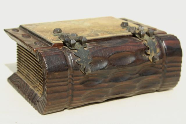 Spanish carved wood boxes, medieval renaissance gothic style vintage book shaped boxes