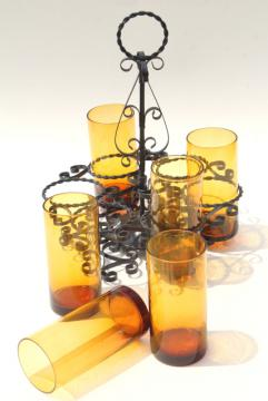 Spanish colonial gothic black wrought iron drinks holder, vintage amber glass glasses w/ rack