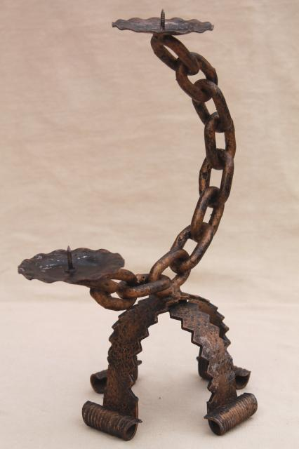 Spanish gothic wrought iron chain candle holders vintage