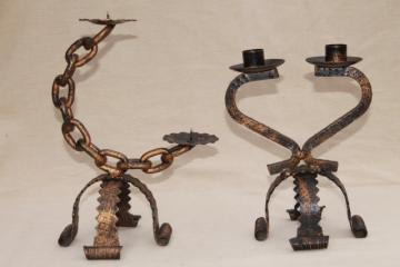 Spanish gothic wrought iron chain candle holders, vintage hand-forged metal art candlesticks