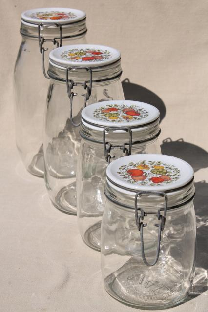 kitchen glass canisters spice of kitchen seasonings vintage glass jars 13326