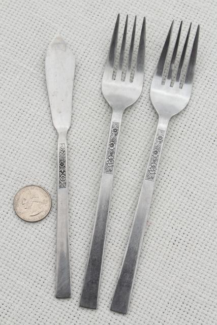Stanley Roberts Dorette 60s 70s mod flowers vintage stainless flatware, Rogers Korea mark