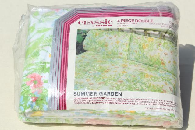 Summer Garden retro print bedding set, vintage double bed sheets & pillowcases