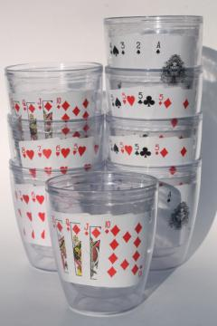 Tervis type insulated clear plastic tumblers, poker playing cards drinking glasses