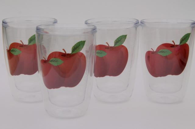 Tervis type insulated clear plastic tumblers, red apple pattern drinking glasses